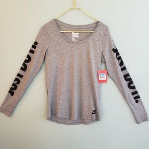 NIKE Women's Grey Athletic/Casual Top (M)